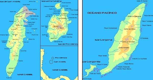 mapa del relieve de la region insular